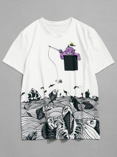Kurzarm Katze Meer Fische Drucken T-Shirt - Weiß L