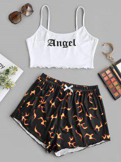 Angel Print Lettuce-trim Camisole And Flame Shorts Set - Black S