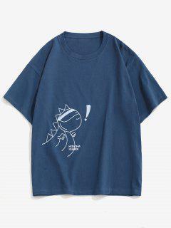 T-shirt Ample Lettre Animal Dessin Animé à Manches Courtes - Cadetblue L