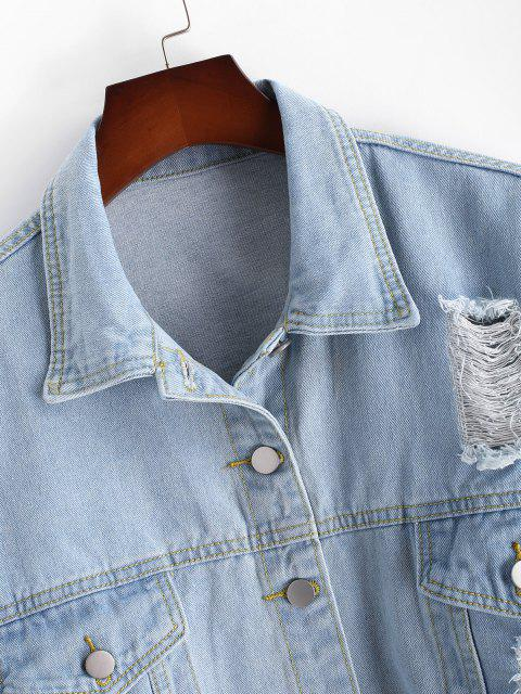 women Plus Size Distressed Light Wash Denim Jacket - BLUE 3XL Mobile