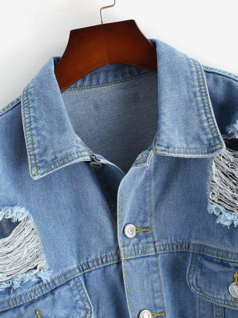 latest Plus Size Ripped Denim Jacket - BLUE 3XL Mobile
