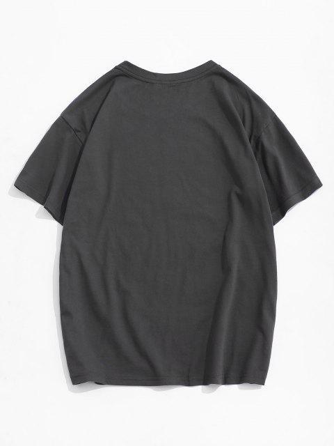 sale Cartoon Bear Letter Short Sleeve T-shirt - DARK GRAY M Mobile