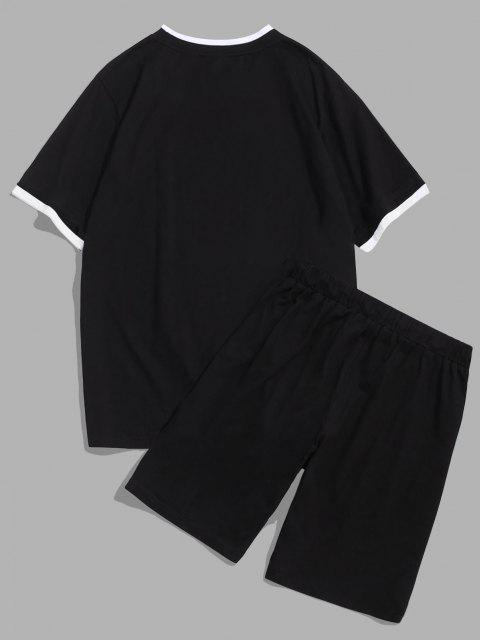 ZAFUL Ensemble de T-shirt Lettre Imprimée et de Short de Sport - Noir S Mobile