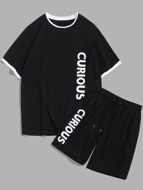unique ZAFUL Letter Print T-shirt and Sports Shorts Set - BLACK M Mobile