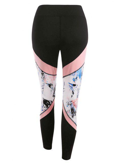 ladies Stitching Colorblock Printed Sports Leggings - BLACK M Mobile