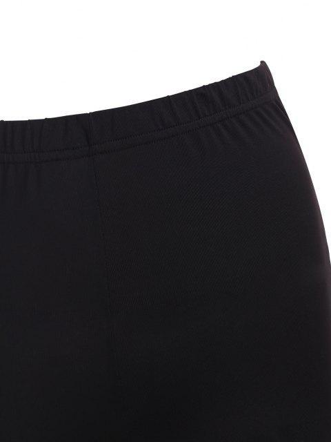 Legging en Couleur Unie à Taille Haute en Treillis - Noir L Mobile