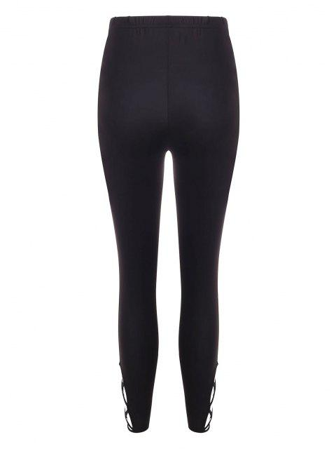 unique Solid Lattice Side High Waisted Leggings - BLACK M Mobile