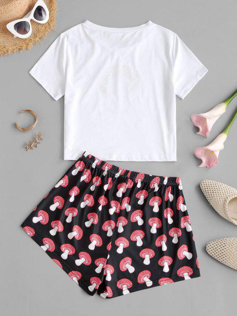 chic Mushroom Print Tee and Shorts Set - RED M Mobile