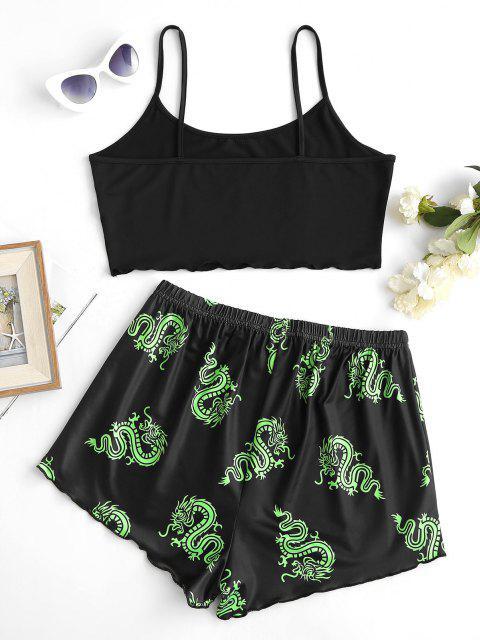 women's Dragon Lettuce Trim Lounge Two Piece Cami Set - LIGHT GREEN M Mobile