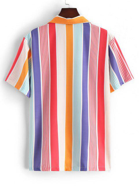womens Silky Fruit Striped Short Sleeve Shirt - RED L Mobile