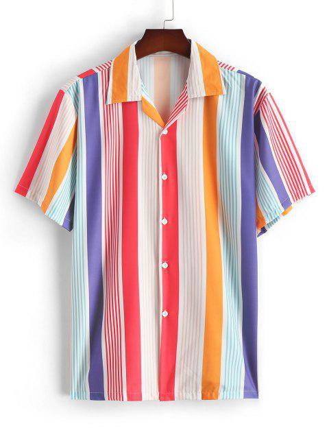 Kontrastfarbenes Gestreiftes Kurzarm Hemd mit Fruchtmuster - Rot XXL Mobile