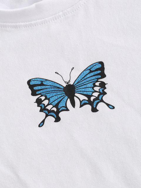 women's Lettuce Trim Butterfly Print Baby Tee - WHITE M Mobile