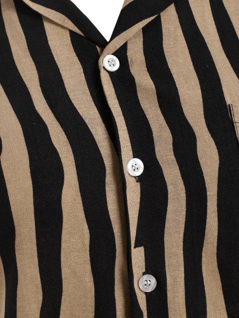buy Irregular Stripe Short Sleeve Shirt - BLACK M Mobile