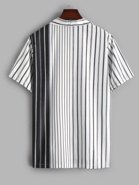 hot Silky Colorblock Vertical Striped Casual Shirt - WHITE M Mobile
