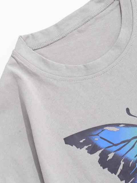 fashion Painting Splash Butterfly Short Sleeve Tee - GRAY M Mobile