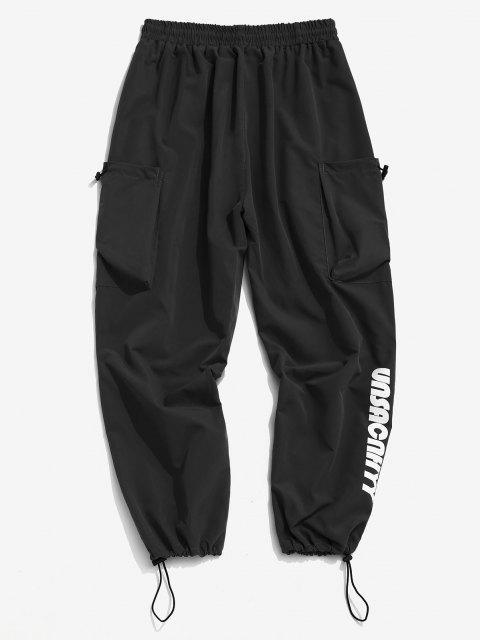 women Letter Print Toggle Loose Pants - BLACK M Mobile