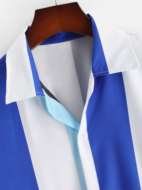 Gestreiftes Farbblock Knopf Hemd - Ozeanblau XXL Mobile