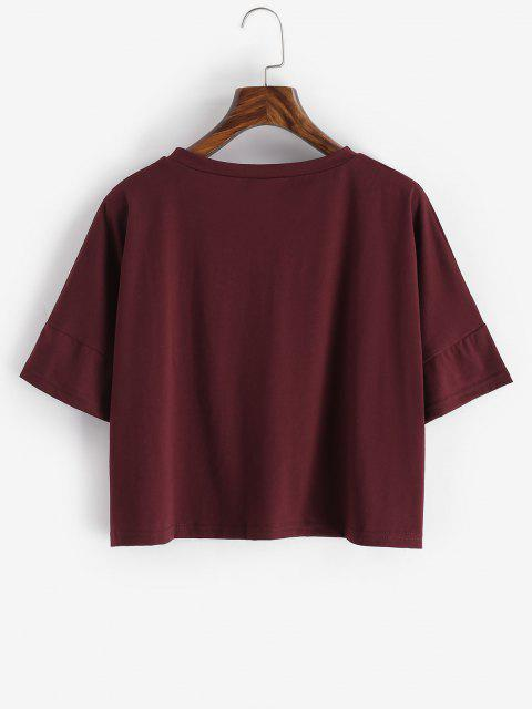 online Oversized Baby Girl Graphic Tee - DEEP RED M Mobile