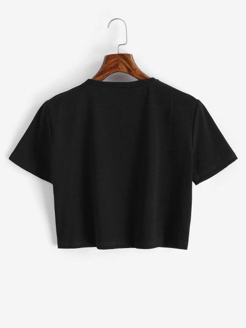 Camiseta Corta Diseño Impreso Dibujo Animado Dinosaurio - Negro S Mobile