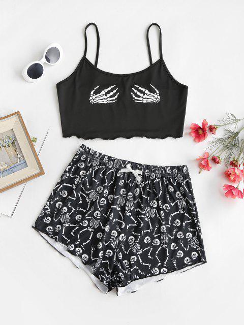 lady Skeleton Print Lettuce-trim Camisole and Shorts Set - BLACK XL Mobile