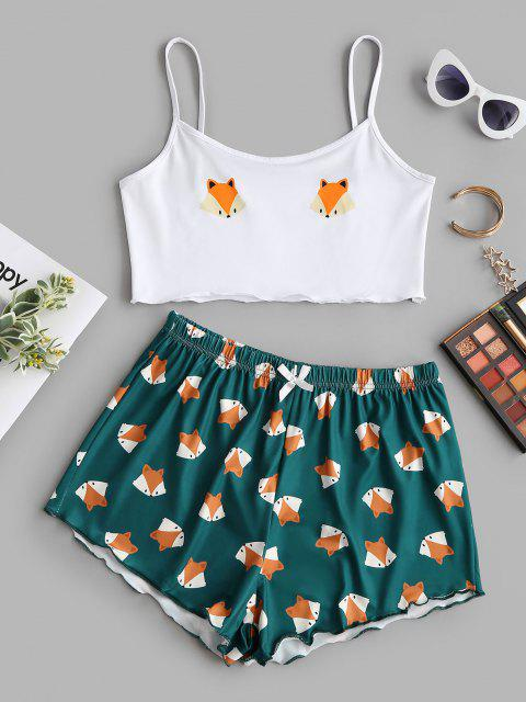 new Cartoon Fox Print Lettuce-trim Camisole and Shorts Set - DEEP GREEN XL Mobile