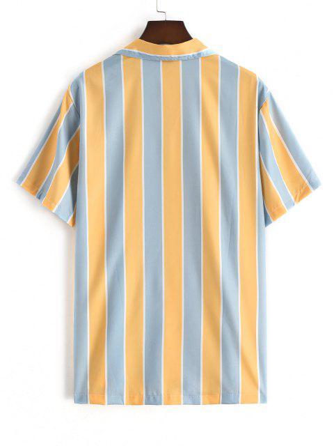 Gemischtes Kontrast Gestreiftes Freizeithemd - Sonne Gelb XXL Mobile
