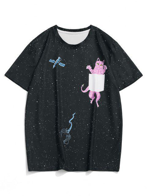T-Shirt Grafica a Gatto e Galassia con Maniche Corte - Nero M Mobile