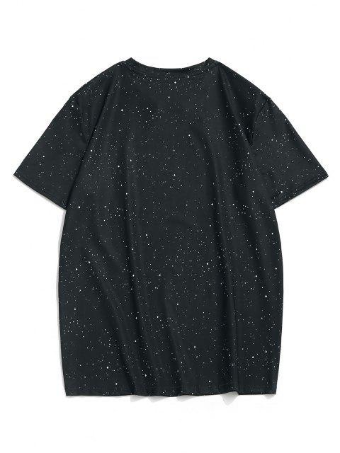 T-Shirt à Manches Courtes Motif Chat et Galaxie - Noir L Mobile