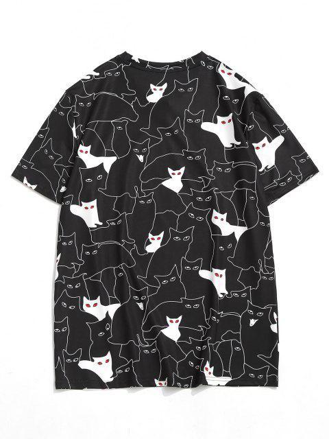 Pussy Cat Figure Short Sleeve Tee - أسود S Mobile