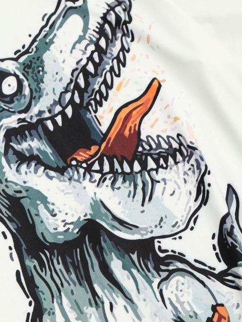 T-shirt con Maniche Corte e Stampa a Dinosauro Giocando - Bianca S Mobile