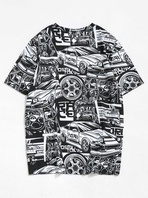 Car Vehicle Figure Short Sleeve T-shirt - أسود M Mobile