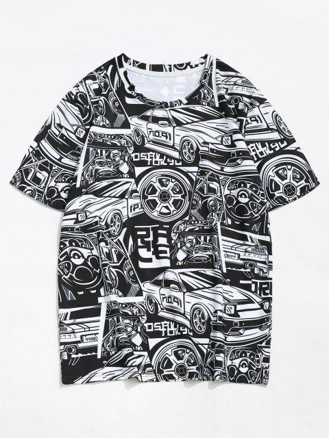 T-Shirt Stampata a Veicolo e Macchina con Maniche Corte - Nero M Mobile