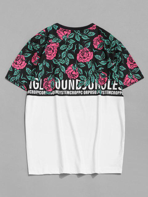 T-Shirt à Manches Courtes Motif Roses et Crâne - Blanc M Mobile