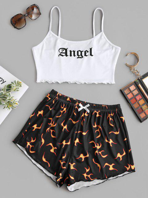 latest Angel Print Lettuce-trim Camisole and Flame Shorts Set - BLACK S Mobile