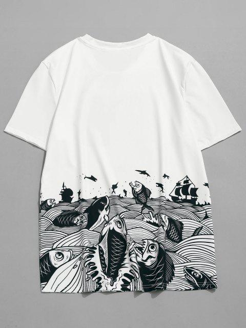 T-Shirt a Maniche Corte con Stampa Mare - Bianca M Mobile