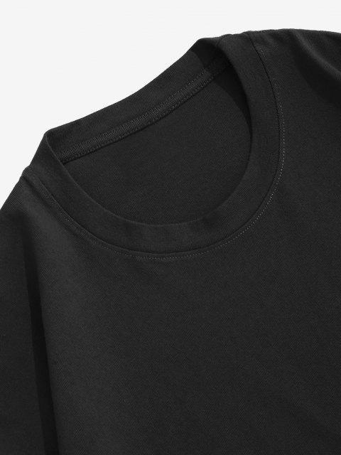 T-Shirt Sciolta Stampata Animali con Maniche Corte - Nero S Mobile
