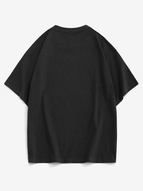Cartoon Animal Letter Loose Short Sleeve T-shirt - أسود S Mobile