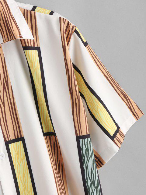 Breites Kurzärmliges Hemd mit Riemenstreifen - Braunes Kamel  XXL Mobile
