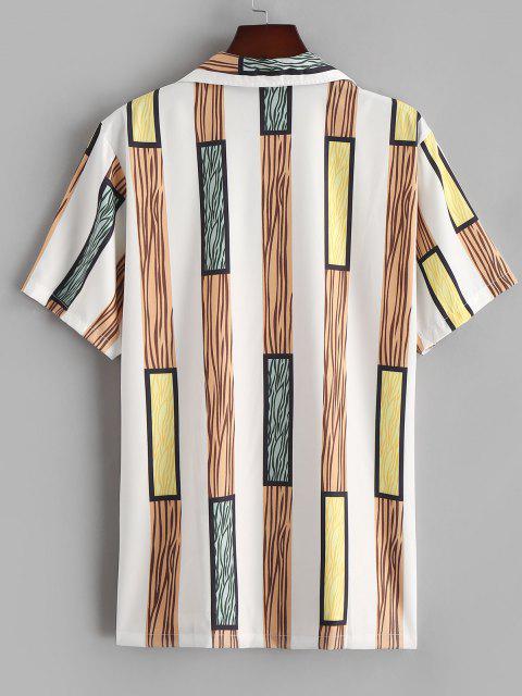 buy Wide Stripe Silky Short Sleeve Shirt - CAMEL BROWN M Mobile