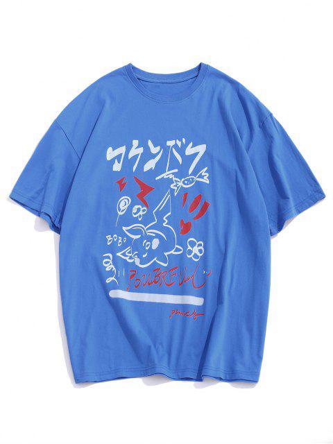 affordable Letter Graffiti Loose Drop Shoulder Tee - BLUE S Mobile