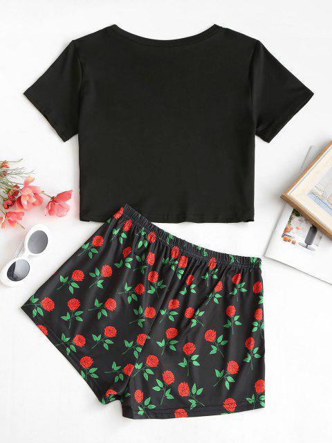 Skeleton Rosenmuster T-Shirt und Shorts Set - Schwarz L Mobile