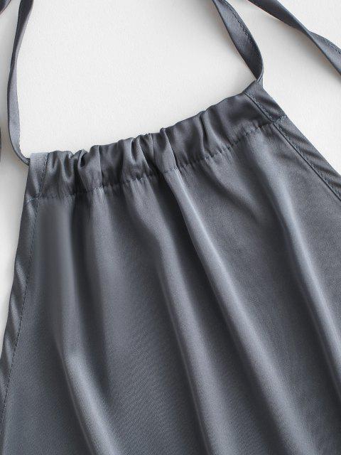 Satin Rückenfrei Schlitz Halfter Cocktail Kleid - Dunkelgrau M Mobile