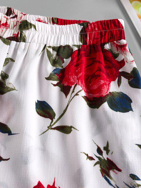 ladies ZAFUL Ruffled Hem Flower Elastic Waist Shorts - WHITE S Mobile
