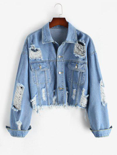 Plus Size Ripped Denim Jacket - Blue 3xl
