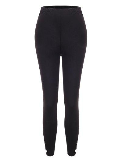 Solid Lattice Side High Waisted Leggings - Black L