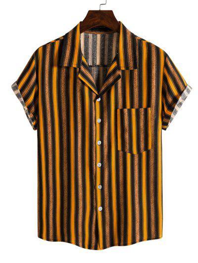 対照的なストライプ半袖シャツ - 黄 Xxl