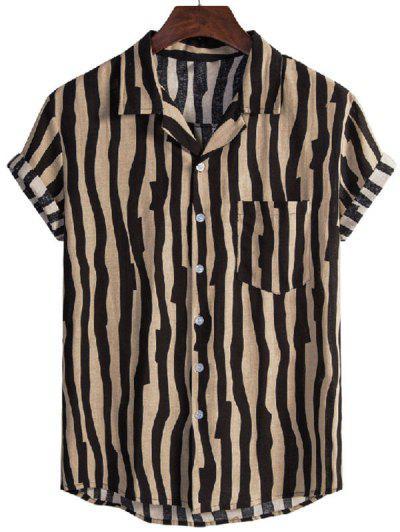 Irregular Stripe Short Sleeve Shirt - Black M