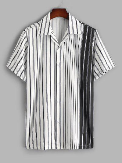 Silky Colorblock Vertical Striped Casual Shirt - White L