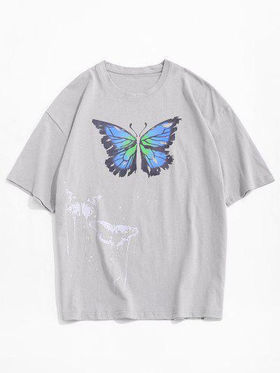 그림 스플래시 나비 짧은 소매 티 - 회색 Xxl