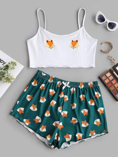 Conjunto De Shorts E Casaco De Alface Dos Desenhos Animados - Verde Profundo S